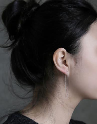 Sterling silver minimalist line ear wire