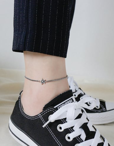 Sterling silver retro five-pointed star chain anklet
