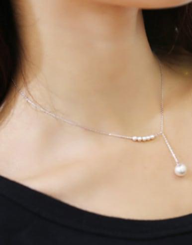 Simple Artificial Pearls 925 Silver Necklace