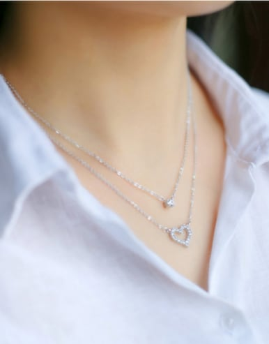 S925 Silver Sweet Love Double Sets of Chain
