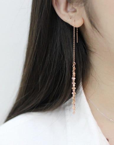 Fashion Tiny Hearts Tassels Silver Line Earrings