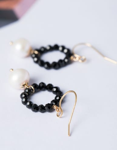 Fashion Tiny Black Stones Artificial Pearl 925 Silver Earrings