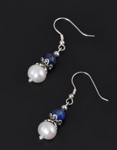 Retro style Freshwater Pearl Blue Stone Bead 925 Silver Earrings