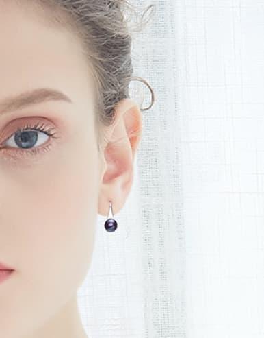 Simple Freshwater Pearl 925 Silver Earrings
