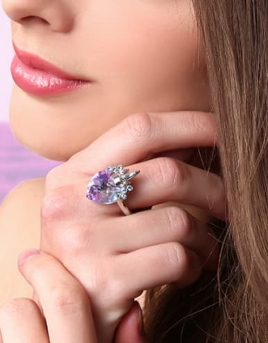 925 Silver Crystal Heart-shaped Statement Ring