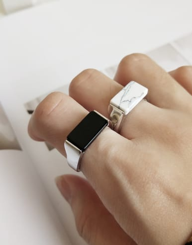 925 Sterling Silver With Platinum Plated Trendy Carnelian  Square Rings