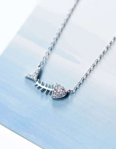 925 silver waterdrill Rhinestone Necklace
