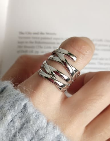 925 Sterling Silver With Platinum Plated Personality Geometric Statement Rings