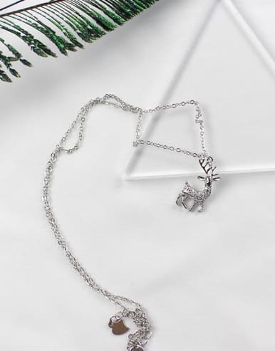 Fashion Little Deer Tiny Zirconias Silver Necklace