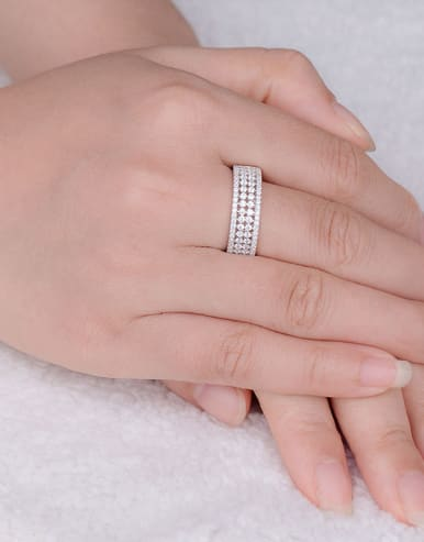 Geometric Zircon band ring