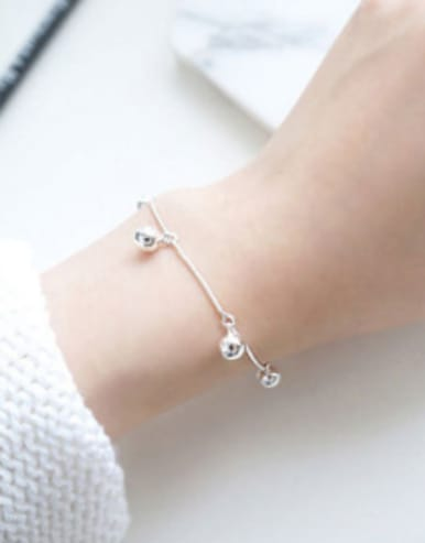 Simple Little Smooth Beads Silver Women Bracelet