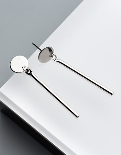 Fresh S925 Silver Round Shaped Drop Earrings