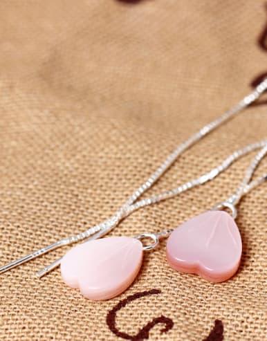 S925 Silver Pink Heart Shell Line threader earring