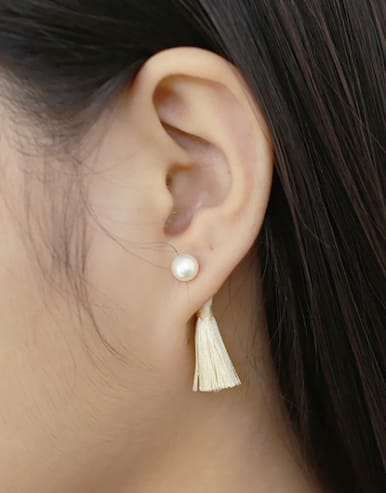 Fashion Freshwater Pearl Chinlon Tassels Silver Stud Earrings