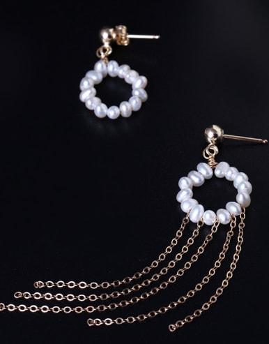 Handmade Freshwater Pearls Tassel Drop Earrings
