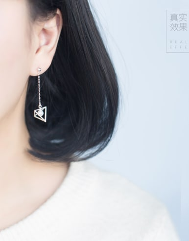 S925 Silver Sweet Solid Triangular Shell Pearl Pearl drop threader earring