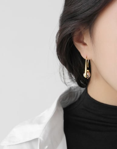 925 Sterling Silver With 18k Gold Plated Trendy Hook Earrings