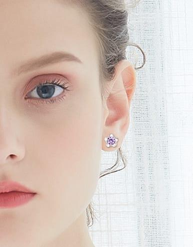 Tiny Cubic Purple Zircon Flower 925 Silver Stud Earrings