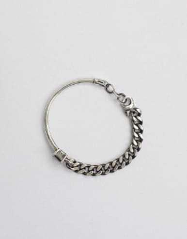 Retro style Black Stone Silver Bangle