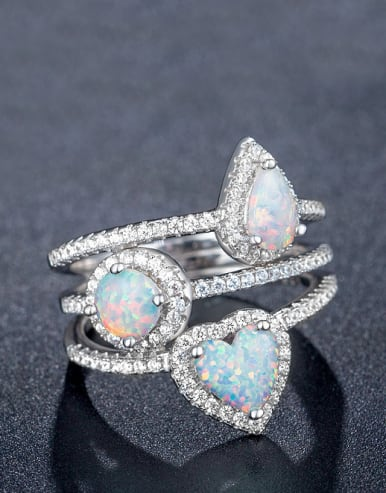 Heart Opal Stone Stacking Ring