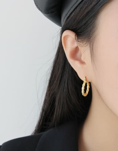 925 Sterling Silver With 18k Gold Plated Geometric texture Earrings