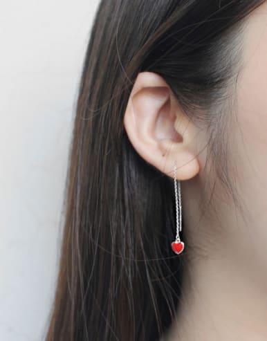 Simple Little Red Heart Silver Line Earrings