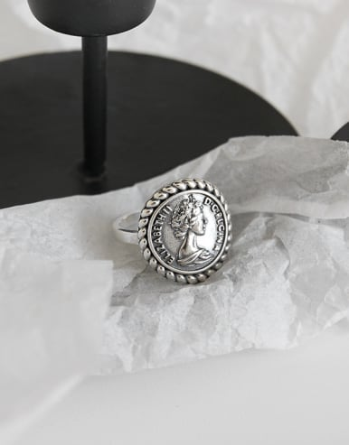 925 Sterling Silver  RouRetro portrait free sizend Rings