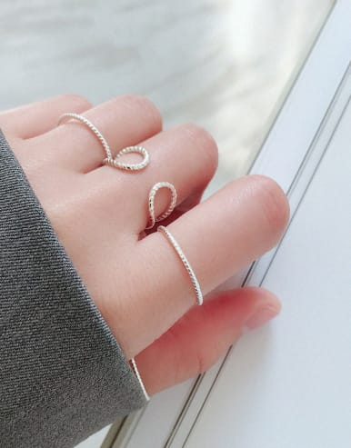 925 Sterling Silver With Silver Plated Fashion Geometric Rings
