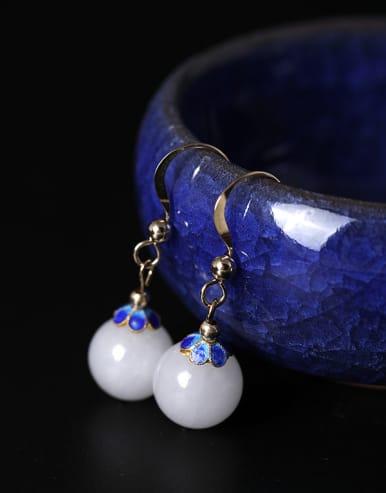 Retro style White Jade Bead 925 Silver Earrings