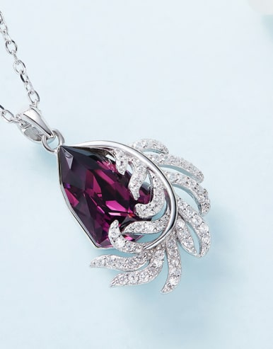 Fashion Shiny Zirconias-covered Leaf Water Drop Swarovski Crystal 925 Silver Pendant