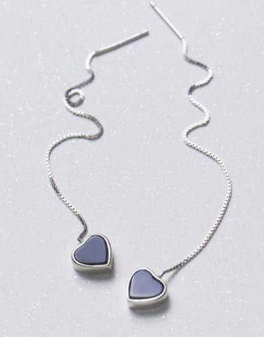 Temperament Pink Heart Shaped S925 Silver Line Earrings