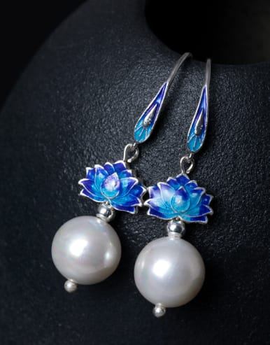 Ethnic style Shell Pearl Blue Lotus Flower 925 Silver Earrings