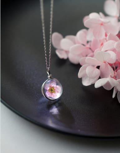 S925 Silver Plum Blossom Round Necklace