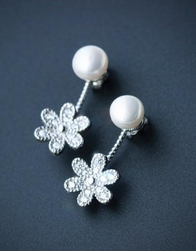 S925 Silver Freshwater Pearls Sweet Flowers drop earring