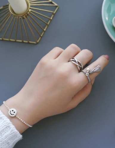 Sterling Silver personalized retro twist fringed free size ring