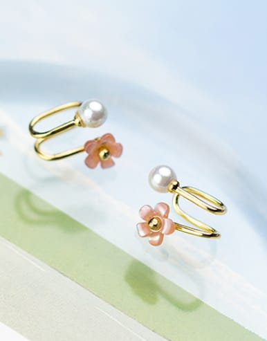 Fresh Gold Plated Artificial Pearl Flower Clip Earrings