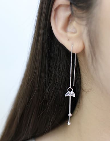 Fashion Cubic Zirconias Silver Line Earrings