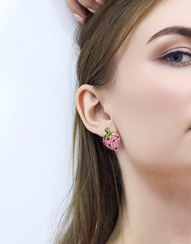 Fashion Strawberry Shiny Zirconias Copper Stud Earrings