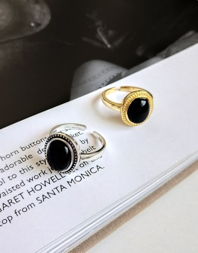 925 Sterling Silver With 18k Gold Plated Vintage Oval black Carnelian Solitaire Rings