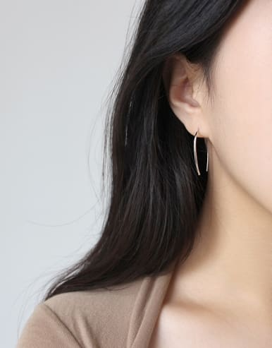 925 Sterling Silver With 18k Gold Plated Minimalist Hoop Earrings