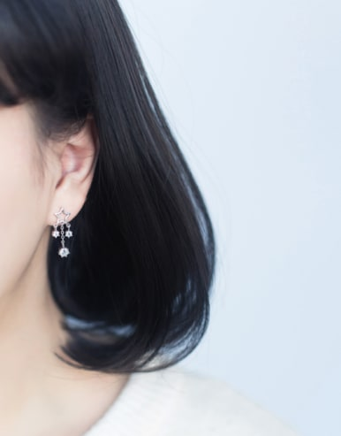 S925 Silver Elegant Fashionable Star Zircon Tassel Short drop earring