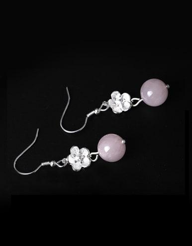 Retro style Crystal Beads Little Flower 925 Silver Earrings