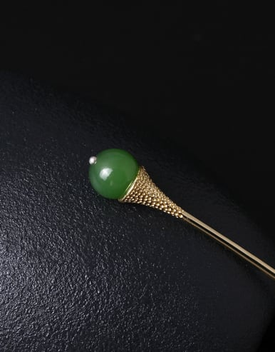 Retro Gold Plated Green Stone Hair Pick