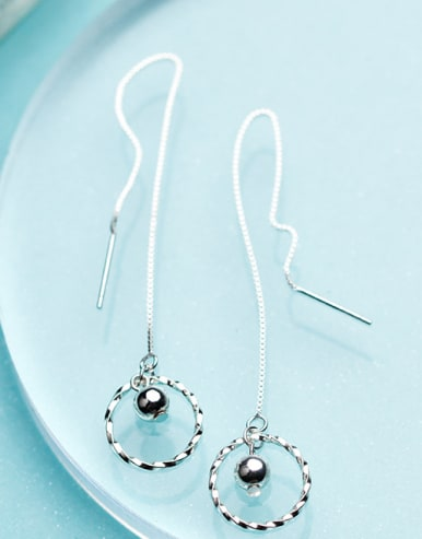 Fashion Round Shaped S925 Silver Line Earrings