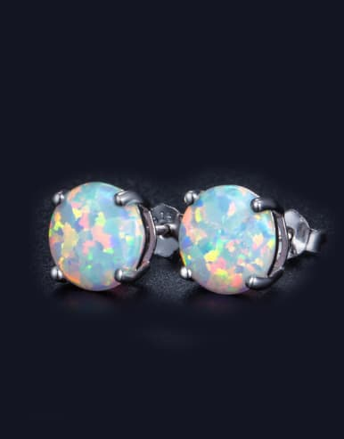 Small Round Shaped Opal Fashion Stud Earrings