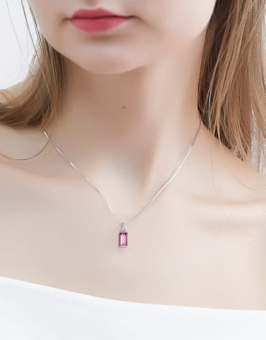 S925 Silver Suare-shaped Necklace