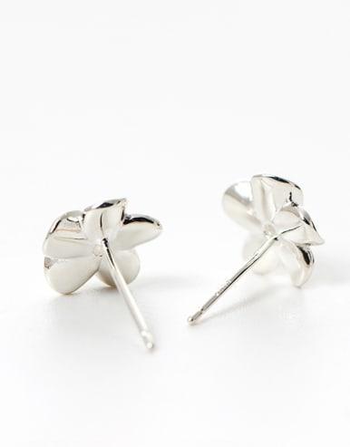 Tiny 925 Silver Flower Cubic Zircon Stud Earrings