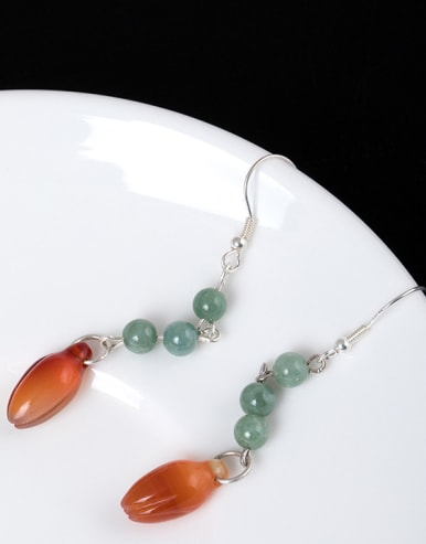 Retro style Natural Emerald Jade 925 Silver Earrings