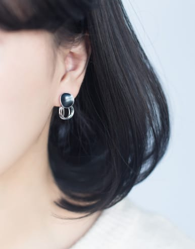 Fashion Round Shaped Glue S925 Silver Glue Earrings