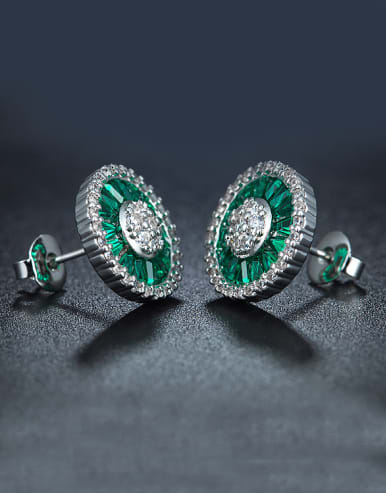 Women Green Zircon Cluster earring
